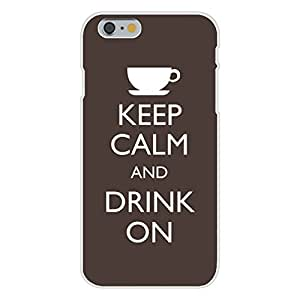 DaojieTM Generic Iphone 6 Plus 5.5 Inch Custom Case White Plastic Snap on - Keep Calm and Drink on Coffee