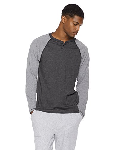Mens Young Apparel (Rebel Canyon Young Men's Regular Fit Heather Jersey Long Sleeve Color Blocked Henley With Snap Placket X-Large Black Heather)