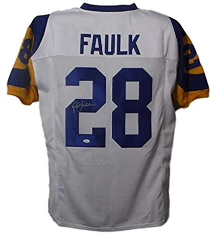 best website aa941 e3b38 Marshall Faulk Autographed/Signed Los Angeles Rams XL White ...