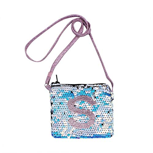 Toddler Kids Little Girls Mini Sequins Crossbody Purse Shoulder Bag Initial (Random Letter)