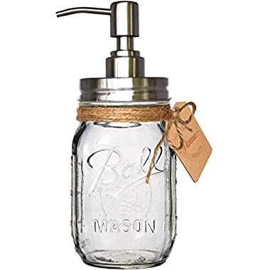 "Premium Stainless Steel Mason Jar Soap Pump / Lotion Dispenser Kit by Premium Home Quality - Includes Iconic, Vintage ""Ball"" (Regular Mouth) 16 oz Glass Pint Mason Jar (16 ounce, Clear Glass)"