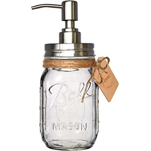 Rust Resistant, 304 18/8 Stainless Steel, Mason Jar Soap or Lotion Dispenser with Iconic Vintage Ball, 16 Ounce  (Clear Glass) by Premium Home Quality (Glass Dishwasher Soap)