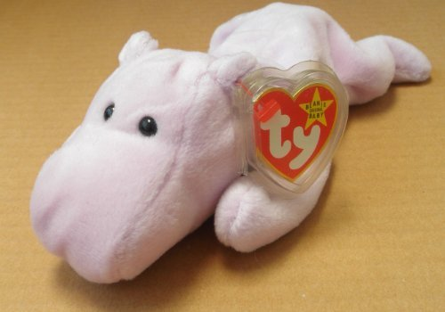 TY Beanie Babies Happy the Hippo Stuffed Animal Plush Toy - 9 inches long