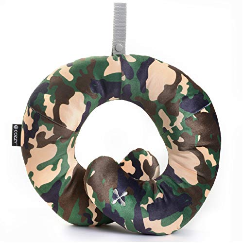 BCOZZY Kids Chin Supporting Travel Neck Pillow - Supports The Head, Neck and Chin in in Any Sitting Position. A Patented Product. Child Size, Camo