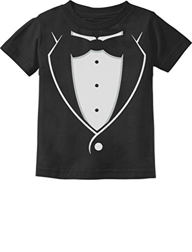 - Printed Tuxedo with Bow-tie Suit Funny Gift for Boys Toddler/Infant Kids T-Shirt 12M Black