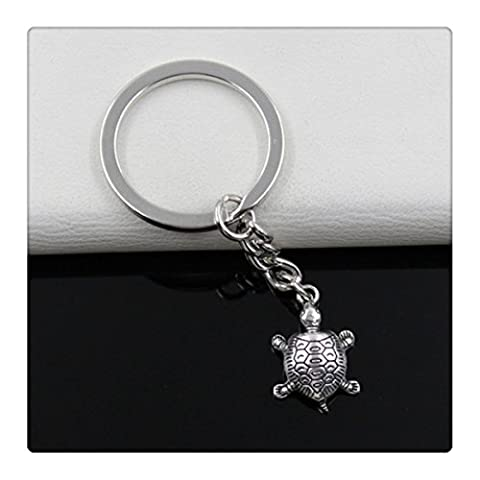 Fashion diameter 30mm Key Ring Metal Key Chain Keychain Jewelry Antique Silver Plated tortoise turtle sea 2214mm - Silver Plated Keychain