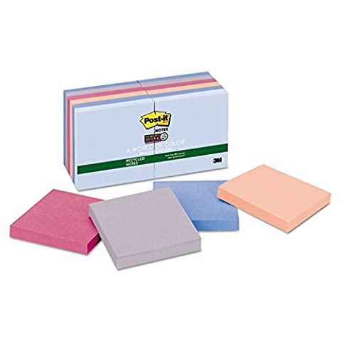 Post-it Recycled Super Sticky Notes in Farmers Market Colors - Hues Super Sticky Notes