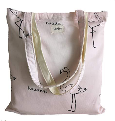 Women's Canvas Tote Shoulder Bag Stylish Shopping Casual Bag Foldaway Travel Bag (41-No closure-holidays-flamingos) ()