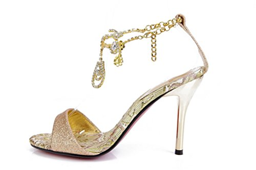 SEXYHER Womens Sparkling tassels 2.8 Inches High Heel Wedding Party Sandals Shoes - SHOMQ1088-5-2.8 Gold AF8Hfd