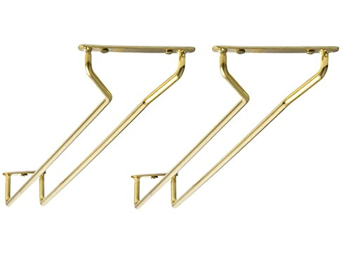 Great Credentials Set of 2-10-Inch Long, Wine Glass Rack, Wire Hanging Rack, Wine Glass Hanging Rack, Wire Wine Glass Hanger Rack, Stemware Rack, Under Cabinet, Brass Finish