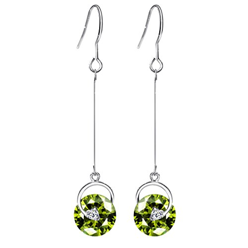 (Neoglory Jewelry Green Crystal Long Fish Hook Earrings for Women 2