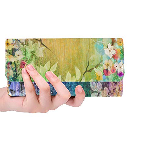 Unique Custom Watercolor Flowers Blurred Painting Herbs Blossoms Ivy Women Trifold Wallet Long Purse Credit Card Holder Case Handbag