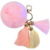 AutumnFall Rabbit Fur Ball Elephant Keychain Bag Plush Key Ring Car Key Pendant (Black) (Pink)