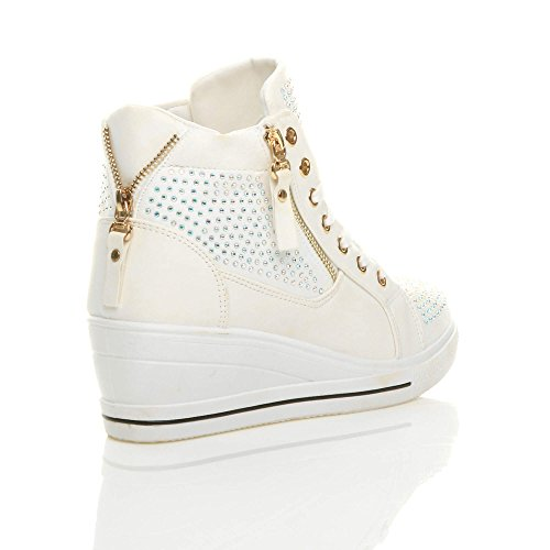 buckle size trainers platform heel boots chain wedge Diamante lace top ladies hi shoes up White ankle Womens high mid naqSx6x0z