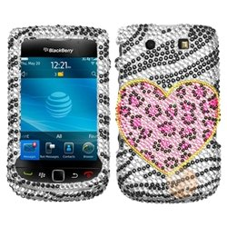MYBAT Diamante Phone Protector Faceplate Cover Compatible with RIM Blackberry 9800 , Playful (Leopard Faceplate)