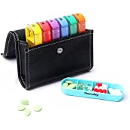 XINHOME Pill Organizer Box Weekly Case– Cute Travel Medication Reminder Daily AM PM, Day Night 7 Compartments-Includes Black Leather PU Carrying Case