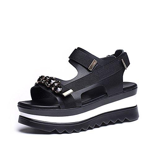 ZPPZZP Ms sandali svago Coreano estate spessa punta aperta nero 37EU