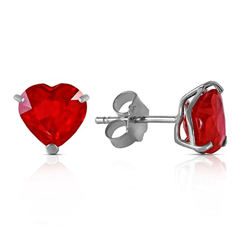 2.9 Carat 14k Solid White Yellow Rose Gold Stud Earrings Natural Heart Ruby (white-gold)