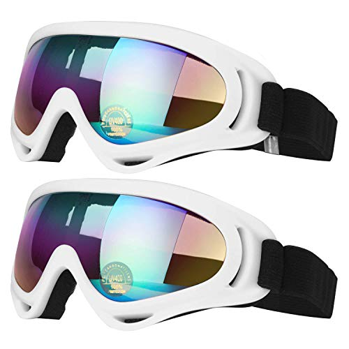 COOLOO Ski Goggles, Pack of 2, Skate Glasses for Kids, Boys & Girls, Youth, Men & Women, with UV 400 Protection, Wind Resistance, Anti-Glare Lenses - Goggles White Ski