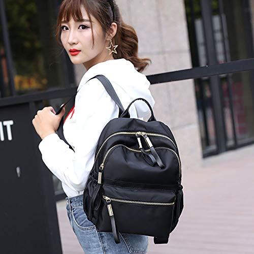 JESPER Nylon Oxford Cloth Backpack Women Backpack College Wind Bag Leisure Bag Black by JESPER (Image #5)
