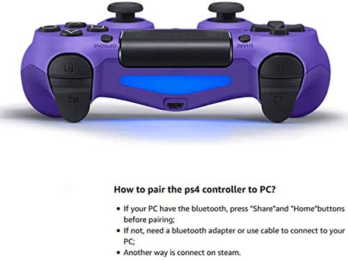 Game Controller for PS4 (Electric Purple), Dual Vibration Compatible with Windows PC & Android OS, Wireless Bluetooth Controller for Playstation 4