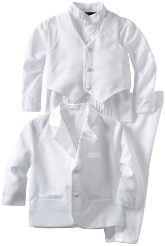 Joey Couture Boys Little Tuxedo No Tail Suit, White, 3