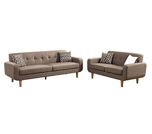 Poundex F6525 Bobkona Saul 2-Piece Sofa and Loveseat Set, Mocha