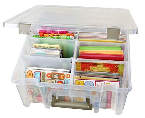 ArtBin 6990AB Super Satchel Compartment Box - Clear, Art and Craft Supplies Box with Removable Dividers, Secure Latches, Handles