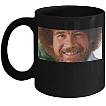 Bob Ross Painting Face (Black) - Bob Ross Coffee Mug - 11-oz Bob Ross Quote Coffee Mug Cup - Funny Bob Ross Painting Quote Coffee Cup