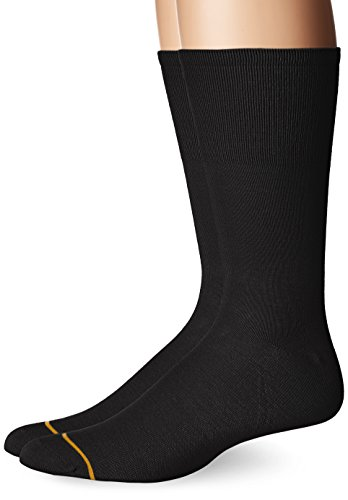 Gold Toe Men's Non Binding Rayon from Bamboo Crew 2 Pack, Black, 6-12.5