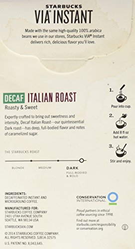 Starbucks Coffee 12-servings Extra Bold Decaffeinated Starbucks VIA Ready Brew Decaf Italian Roast Coffee, Instant 39.6g.