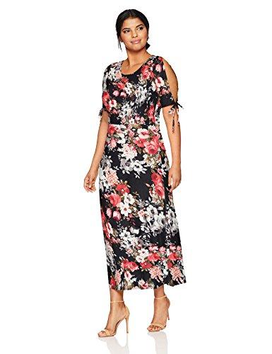 Star Vixen Women's Plus-Size Short/Slit Sleeve Keyhole-Back Skater Seam Maxi Dress, Black Ground Floral, 3X ()