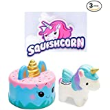 SQUISHCORN Jumbo Squishy Toy – 3 Pack of Squishy Toys – Unicorn and Cake Squishy Toys – Mousse Cream Scented Toys – Slow Rising Foam Toy – Stress Relief Toy – Great for Kids
