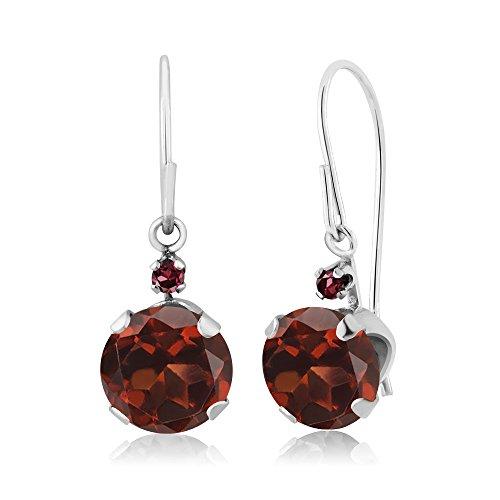 2.05 Ct Round Red Garnet Red Rhodolite Garnet 14K White Gold Earrings