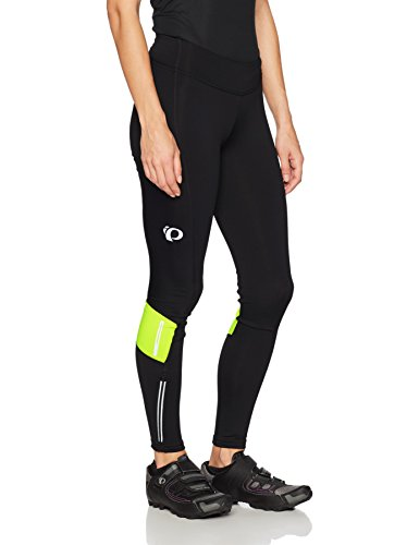 (Pearl iZUMi W Escape Sugar Thermal Tights, Black/Screaming Yellow, Small)
