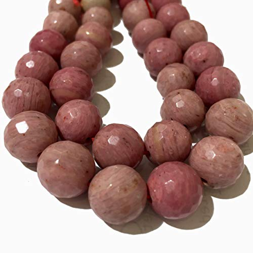 ([ABCgems] 4 Strands Lot- Brazilian Rhodonite (Beautiful Shades of Pink) 12mm, 10mm, 8mm, 6mm Faceted Round Beads. Each Strand 8