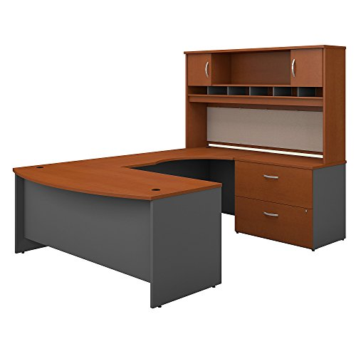 Bush Business Furniture Series C 72W Right Handed Bow Front U Shaped Desk with Hutch and Storage in Auburn Maple ()
