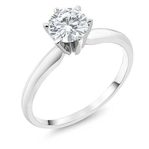 - Charles & Colvard Forever Classic 6mm 0.80ct DEW Created Moissanite 14K White Gold Engagement Solitaire Ring (Size 6)