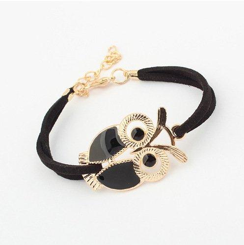 Enamel Vintage Bangles - Lvxuan Fashion vintage Leather bracelets bangles Enamel Gold Night Owl Charming Bracelet for Women