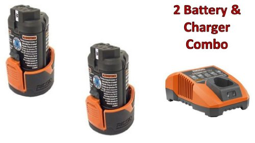 Ridgid R82009 Drill (2 Pack) 12V Li-on Batteries (R86048) & (1) Charger (R86049) Combo Kit # 130188001-2BC-140446001 by Rigid