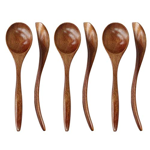 Wooden Spoons for Eating, ADLORYEA 6-Piece Wood Spoons, 7 inch Handmade Natural Wood Spoon for Soup, Coffee, Salad…