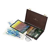 Estuche de madera con estudio de lápiz de acuarela Faber Castell Albrecht Durer, juego de 48 colores y accesorios (FC117506)