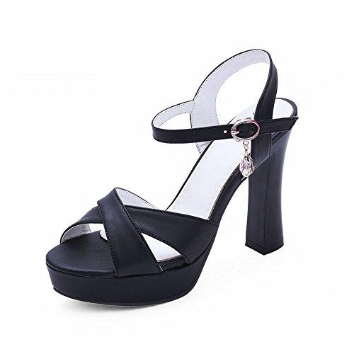 BalaMasa Femme Ouvert Noir Bout ASL05365 HqSf7