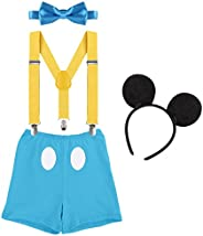 OBEEII Baby Boy Cake Smash First Birthday Y Back Clip Suspender Bloomers Bowtie Outfits