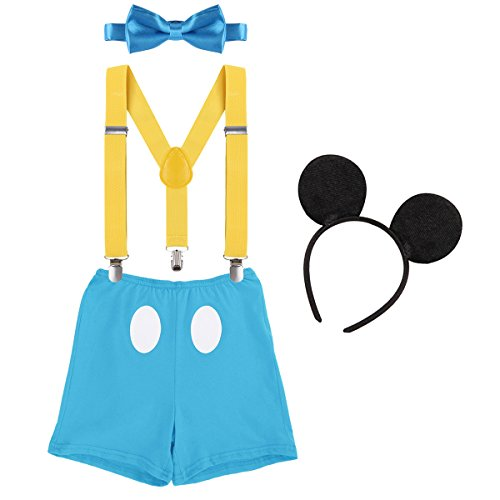 (Baby Boys First Birthday Christmas Costume Cake Smash Outfits Y Back Suspenders Bloomers Bowtie Set Mouse Ear #12 Yellow+Blue 12-18)