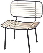 Benjara Industrial Style Metal Chair with Slatted Rattan Seating, Black and Beige