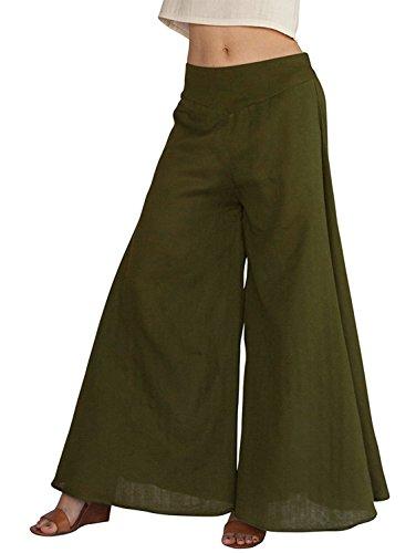 Meowstyle Women's Fold Over Waist Palazzo Yoga Lounge Pants Wide Leg Culottes Trousers (US M = Asia XL, Army (Organic Wide Leg Pant)
