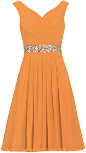 Les Sangles De Fourmis Femmes En Mousseline De Soie Robes Courtes Soirée Perle Robe De Cocktail Orange,