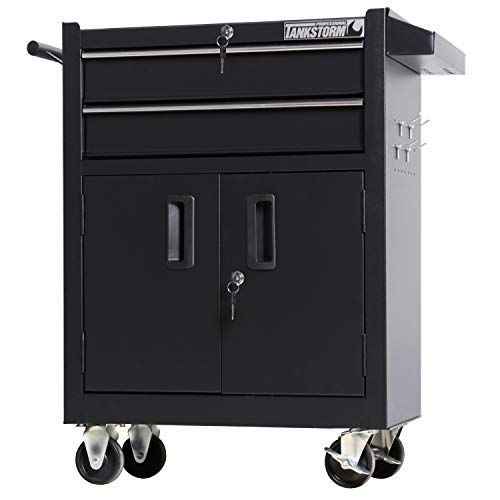 TANKSTORM Tool Chest Heavy Duty Cart Steel Rolling Tool Box with Adjustable Shelf Inside and Lockable Drawers and Doors (TZ15A Black) Ball Bearing Tool Cart