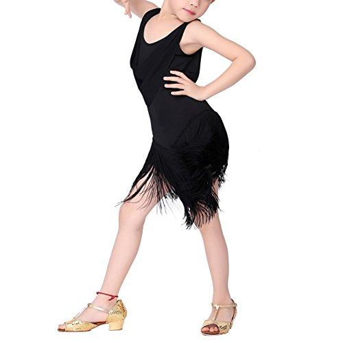 [Kids Girls Sleeveless Tassel Rumba Latin Dance Dress School Performance Costume] (Samba Costumes Uk)